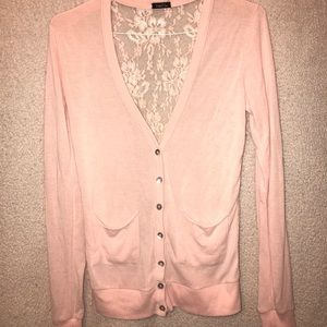 Light pink cardigan with lace back